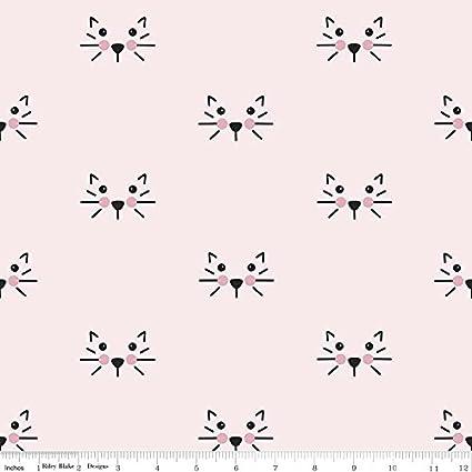 Tela de gasa gato – gatos caras rosa – doble gasa tela – rbdg01 – 0