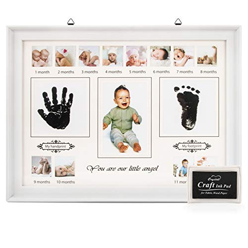 - Baby Handprint Kit & Footprint, VISTION Baby Picture Frame First Year Ornament Keepsake Box for Newborn Boys & Girls, Perfect for Baby Photo Wall Decor, New Mom Gifts, Baby Shower Registry