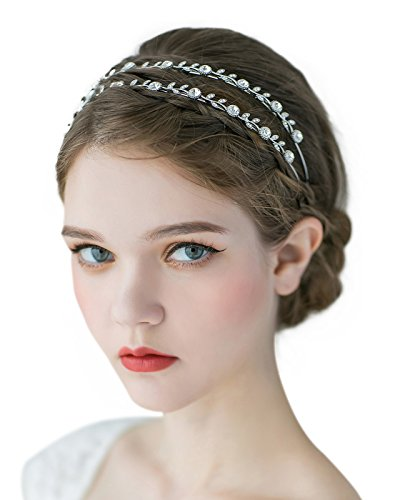 SWEETV Crystal Wedding Headband Hair Band Rhinestone Headpiece Tiara Bridal Hair Accessories, Double Band Silver