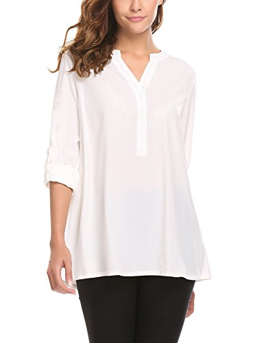 White Tunic Shirt - SummerRio Women Comfy Business T-Shirt Half Sleeve Button Down Top L