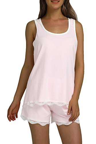 Chamllymers Women's Soft Sexy Sleeveless Pajama Set Racerback Vest Stretch Shorts Pink XL (Baby Doll Pajamas For Women)