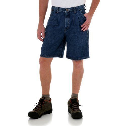 Wrangler Big Mens Pleated Elastic Angler Short - Dark Stonewash