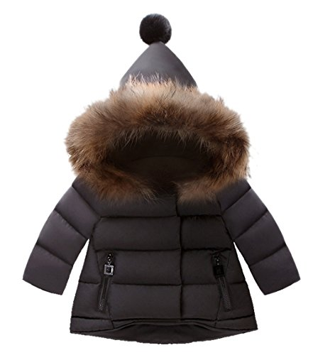 LANBAOSI Baby Girls Cute Fur Hoodie Puffer Down Jacket Warm Snow Coat Outerwear 6 Black by LANBAOSI