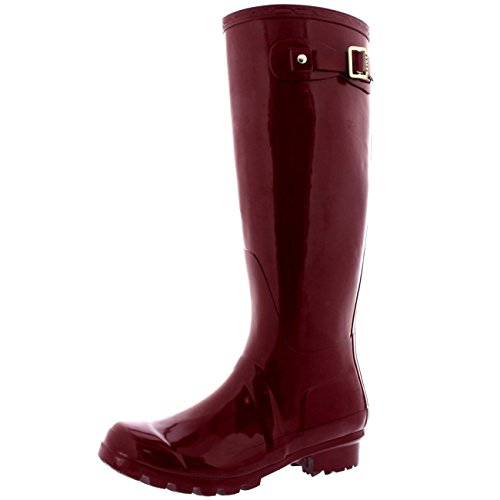 Womens Original Tall Gloss Winter Waterproof Wellies Rain Wellington Boots - 9 - BUR40 - Knee Rain Boots High
