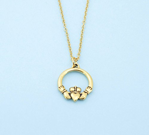 Claddagh necklace in gold plated pewter on an 18