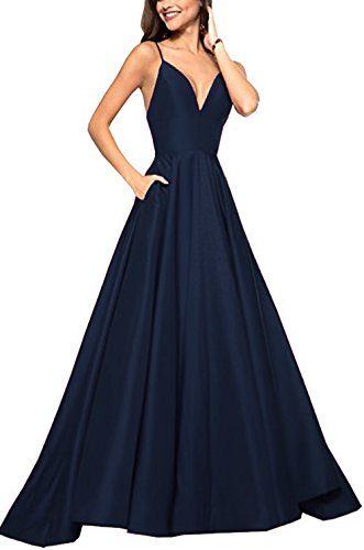 Womens Spaghetti Strap V Neck Prom Dresses Long 2019 A-line Satin Formal Evening Ball Gowns with Pockets Navy Blue ()