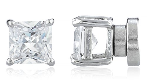 [New & Improved! Silvertone with Clear Cz Square Magnetic Stud Earrings - 4mm to 12mm Available (5 Millimeters)] (Fun Cheap Easy Halloween Costumes)
