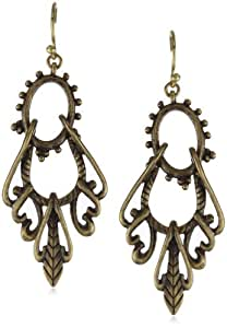 Lucky Brand Gold-Tone Openwork Swing Hoop Earrings