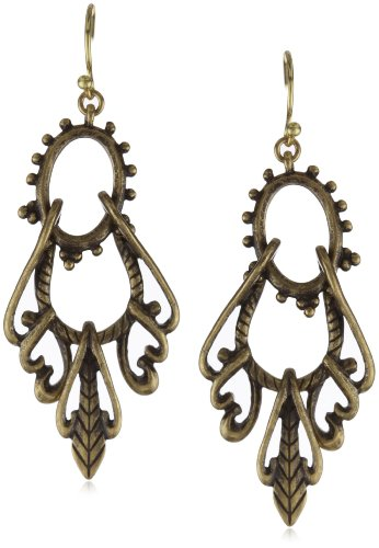 Lucky Brand Gold-Tone Openwork Swing Hoop Earrings