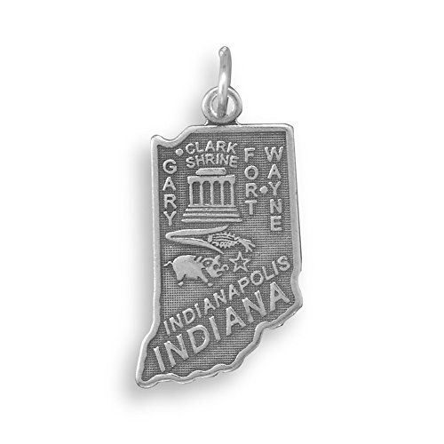 (Indiana State Charm Antiqued Sterling)