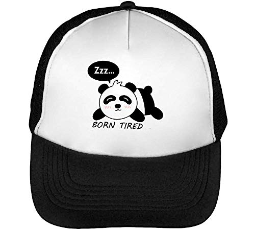 Snapback Born Tired Gorras Blanco Beisbol Panda Hombre Negro 6wIaqFrw