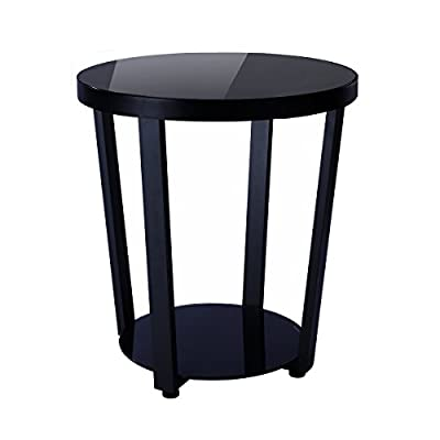 1208S Round Glass Top End Table Living Room Side Table Coffee Table, Black -  - nightstands, bedroom-furniture, bedroom - 418esU9E95L. SS400  -