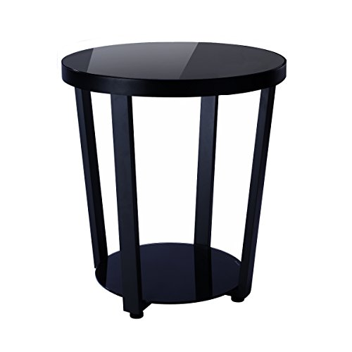 1208S Round Glass Top End Table Living Room Side Table Coffee Table, Black (Iron Glass Side Table)