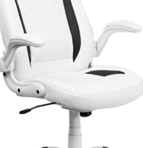 Flash Furniture High Back Leather Executive Swivel Office Chair with Flip-Up Arms