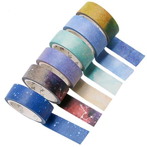 JETEHO Set of 6 Washi Masking Tape - Galaxy Washi Tape, Sticky Paper Tape for DIY, Decorative Craft, Gift Wrapping, Scrapbook(0.6inchx7.6yd) (Printed Tape Washi)