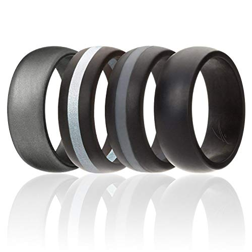 ROQ Silicone Wedding Ring for Men, Silicone Rubber Band 4 Pack - Black, Grey, Silver, Beveled Metallic Platinum, Size 14