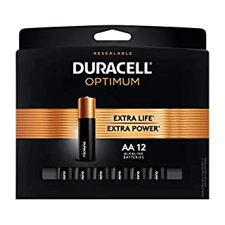 Duracell Optimum AA Alkaline Batteries | Long Lasting 1.5V Double A Battery | Resealable Package for Storage | 12 Count