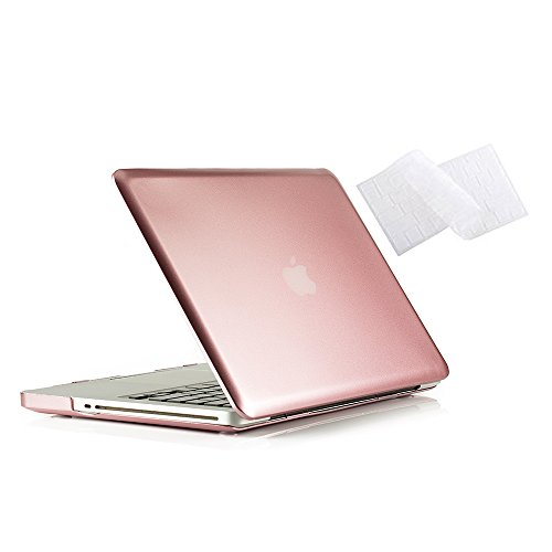 MacBook Pro 13 Case 2012 2011 2010 2009 Release A1278, Ruban Hard Case Shell Cover and Keyboard Skin Cover for Apple MacBook Pro 13 Inch with CD-ROM - Rose Gold