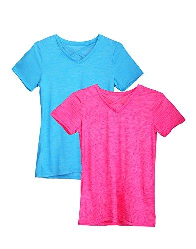 Dolcevida Women's Tops Criss Cross Front V Neck Short Sleeve Sport T Shirt, 2-Pack (Blue&Pink, M)