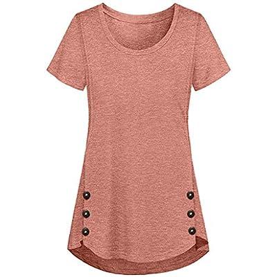 Pumsun Maternity Nursing Top T Shirt Women Side Slits Breastfeeding Short Sleeve T-Shirt Blouse Solid Button Nursing Shirt: Clothing