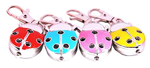 - ZIMI 4PCS Analog Keychain Key Ring Watch Pendant Wings with Holes Ladybug Quartz Lady Bug Girls Gift Watches