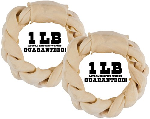 (Balls 'n Bones Big Dog ONE-Pound Braided Rawhide Rings for Large Dogs (Natural, 2-Pack) )