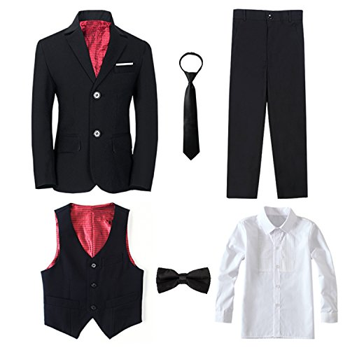 Yanlu 6 Piece Formal Boys Suits Sets Size 7 Black Boy Tuxedo Suit Blazer Pants Vest Shirt Necktie and Bow Tie -