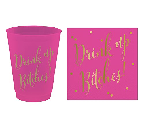 Flex Gold Foil (Drink Up Bitches Bundle - 8 - 16 oz Frost Flex Cups & 20 Ct Napkins) - Hot Pink and Gold Foil Print)