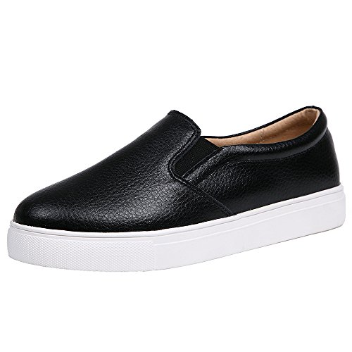 Genuine Comfort SUNROLAN Sneakers Women's Flats Platform Black Loafers Leather Shoes On Slip Fashion wOSqO