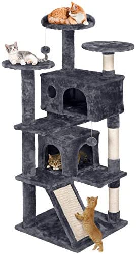 YAHEETECH Cat Tree Cat Tower 54 inches Multi-Level Kitten Condo Play House Furniture with a Full Sisal-Covered Ramp for Indoor Activity Relaxing