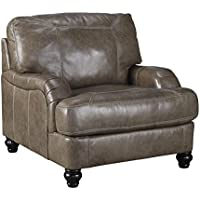 Ashley Kannerdy Collection 8040220 Living Room Chair with Leather Upholstery Turned Feet Stitched Detailing Removable Seat Cushions and Contemporary Style in