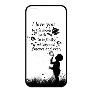 Love Quote I Love You To The Moon And Back Protective Rubber Back Fits Cover Case for iPhone 4 4s