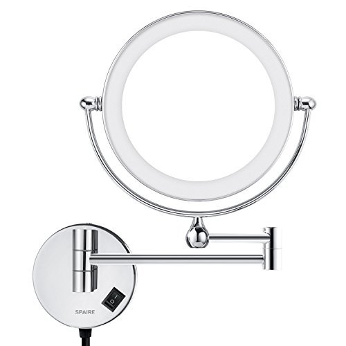 Spaire Makeup Mirror LED Lighted 5x and 1x Magnification 8.2 Inch Two-sided Wall Mounted Magnifying Mirror Chrome Finish for Bathroom, Spa and Hotel