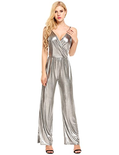 ANGVNS Women's Sexy Off Shoulder Backless Strappy Jumpsuit Bandage Long Pants Clubwear Culotte Rompers(Silver,XL)
