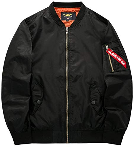 Vintage Bomber Flight Semplice color 3 Con Badge Force Leggera Stile schwarz Air A Size Zip Uomo Giacca L Da Classica Patch Jacket Per Vento nqw8zzOY