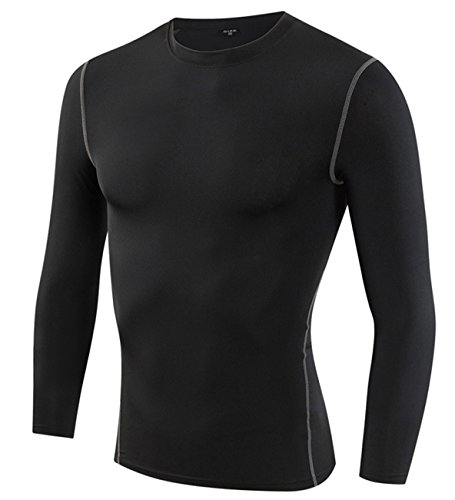 Yuerlian Mens Thermal Coldgear Compression Long Sleeve Shirt Tight Running Long Sleeved Tops Dri Fit Baselayer Cycling Undershirts Black Tag M/US XS