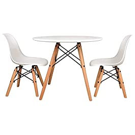 UrbanMod Kids Mid Century Style Modern White Table Set, Round Table with Two (2) ABS Easy-Clean Chairs!! Highest Strength Capacity (330lbs) – Safer Chair Height!