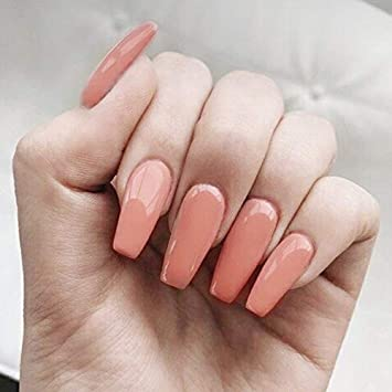 24 Pcs Set Ballerina Coffin Orange GEL Fancy Press On Nails, False Nails,  Artificial Nails, Glue On Nails, Stick On Nails with Glue and Adhesive Tab