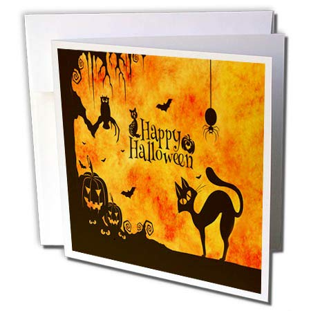 3dRose Sandy Mertens Halloween Designs - Cat, Owl, Bats, Spider, Jack o Lanterns Silhouettes, 3drsmm - 12 Greeting Cards with envelopes (gc_290231_2) -