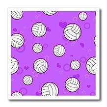 Janna Salak Designs Sports - Purple Volleyball Pattern - Iron on Heat Transfers - 6x6 Iron on Heat Transfer for White Material - ht_195245_2