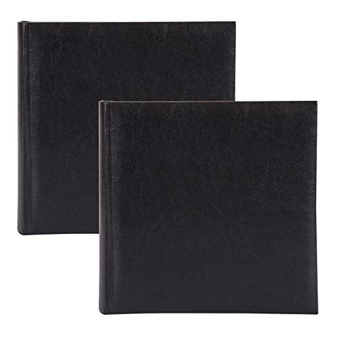 DesignOvation Madelyn Traditional Faux Leather Black Photo Album, Holds 100 5x7 or 200 4x6 Photos, Set of 2 ()