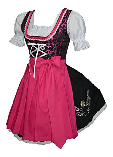 3-piece Short German Oktoberfest Dirndl Dress Black & Pink (8) by Edelweiss Creek