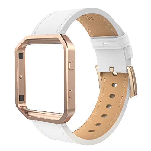 Simpeak Compatible for Fitbit Blaze Bands with Frame, Small, Multi Color, Genuine Leather Band for Fit bit Blaze Smartwatch Women Men, White Band + Rose Gold Metal Frame