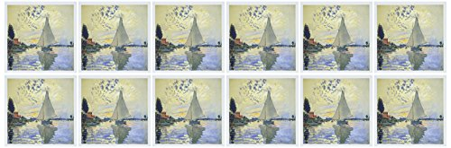 3dRose Print of Monet Painting Sailboat at Le Petit - Greeting Cards, 6 x 6