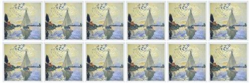 3dRose Print of Monet Painting Sailboat at Le Petit - Greeting Cards, 6 x 6', Set of 12 (gc_203678_2)