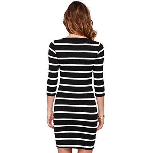 Lange KleidSport Und Schwarze Ärmel Yali Weiße Streifen CeBQxWdroE