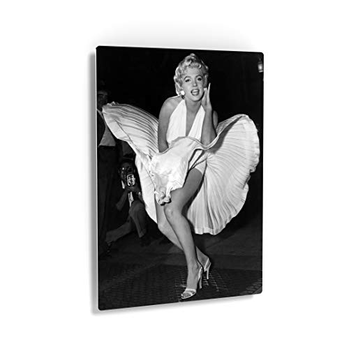 Smile Art Design Marilyn Monroe in White Dress Seven Year Itch Metal Print Famous Icon Bedroom Wall Art for Living Room Metal Wall Decor Vintage Home Decor Artwork - Ready to Hang Made in USA - 30x20