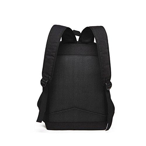 Quner Rucksack Herren Schultasche Retro Große Kapazität Student Backpack Laptoprucksacke Freizeit Outdoor Schwarz Hellblau HyMb1H4z