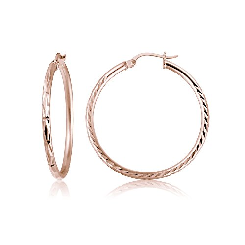 Rose Gold Flash Sterling Silver 2mm Diamond-Cut High Polished Round Hoop Earrings, 25mm