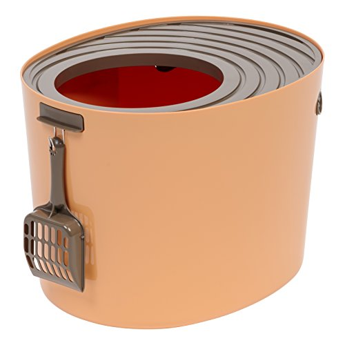 Orange Relish - IRIS Medium Top Entry Cat Litter Box with Cat Litter Scoop, Orange & Brown